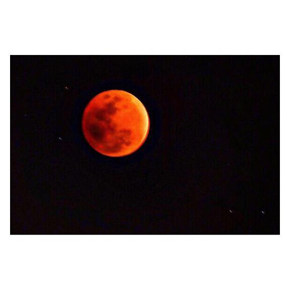 益若つばさのがCOOLPIX P900を使って月の撮影をしている様子です。